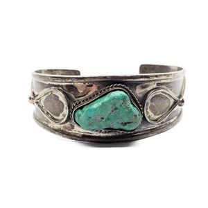 Old Mexico 925 Chunky Turquoise Cuff Bracelet 7.25